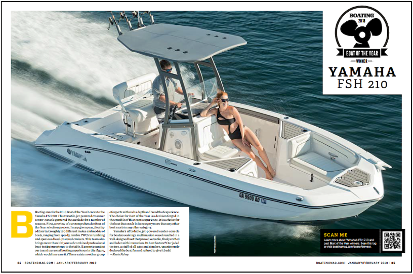 Boating Magazine Names Yamaha 210 FSH 2018 Boat of the Year